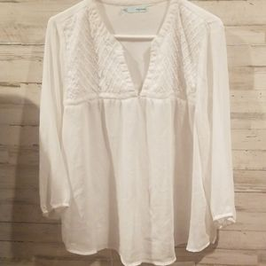 Women's large sheer white blouse